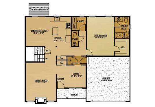 The Birch New Home Construction Floor Plan First Floor in Ballston Lake, NY Saratoga County, NY & Clifton Park, NY