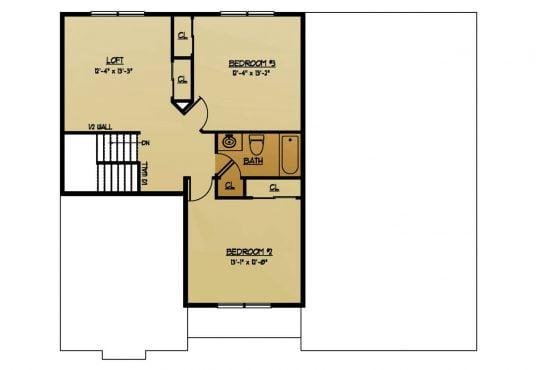 The Birch New Home Construction Floor Plan Second Floor in Ballston Lake, NY Saratoga County, NY & Clifton Park, NY