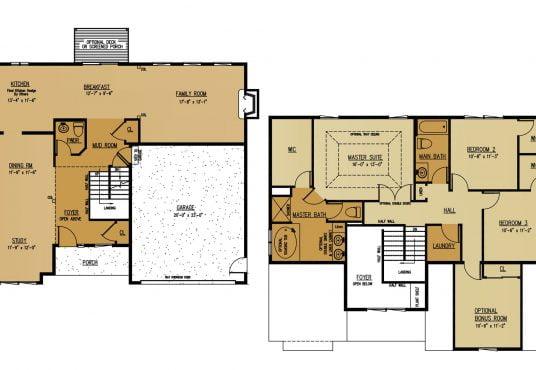 The Cypress New Home Construction Floor Plan in Ballston Lake, NY Saratoga County, NY & Clifton Park, NY