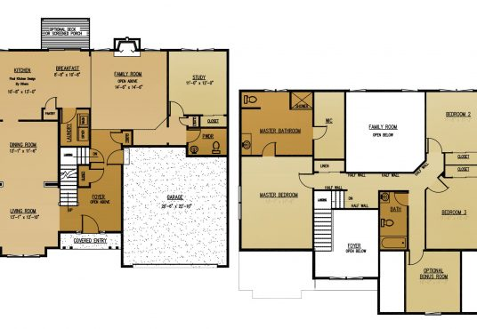 The Elder New Home Construction Floor Plan in Ballston Lake, NY Saratoga County, NY & Clifton Park, NY