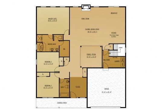 The Ginkgo New Home Construction Floor Plan in Ballston Lake, NY Saratoga County, NY & Clifton Park, NY