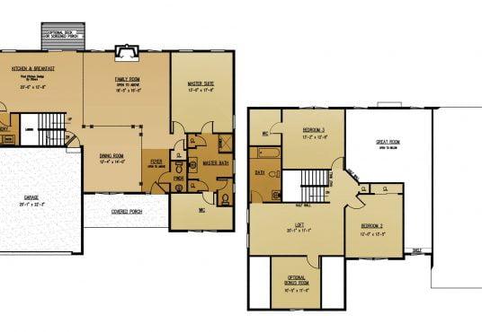 The Hemlock New Home Construction Floor Plan in Ballston Lake, NY Saratoga County, NY & Clifton Park, NY