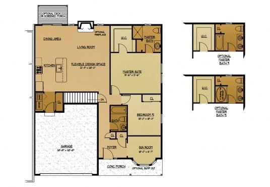 The Hickory New Home Construction Floor Plan in Ballston Lake, NY Saratoga County, NY & Clifton Park, NY