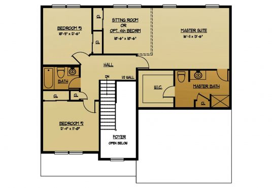 The Locust New Home Construction Floor Plan Second Floor in Ballston Lake, NY Saratoga County, NY & Clifton Park, NY