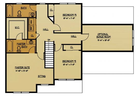 The Redwood New Home Construction Floor Plan Second Floor in Ballston Lake, NY Saratoga County, NY & Clifton Park, NY