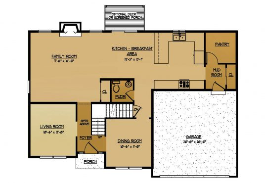 The Sequoia New Home Construction Floor Plan First Floor in Ballston Lake, NY Saratoga County, NY & Clifton Park, NY