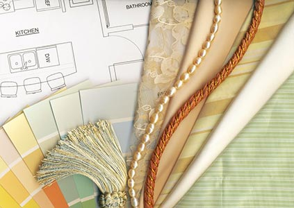 color and textile swatches with home design plan