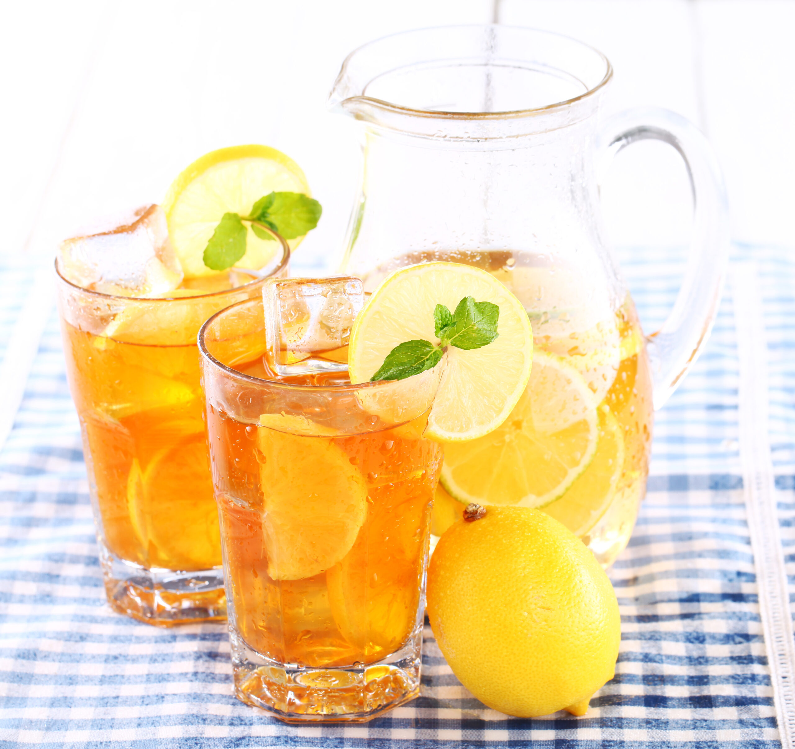 Pitcher of Iced Tea with two glasses