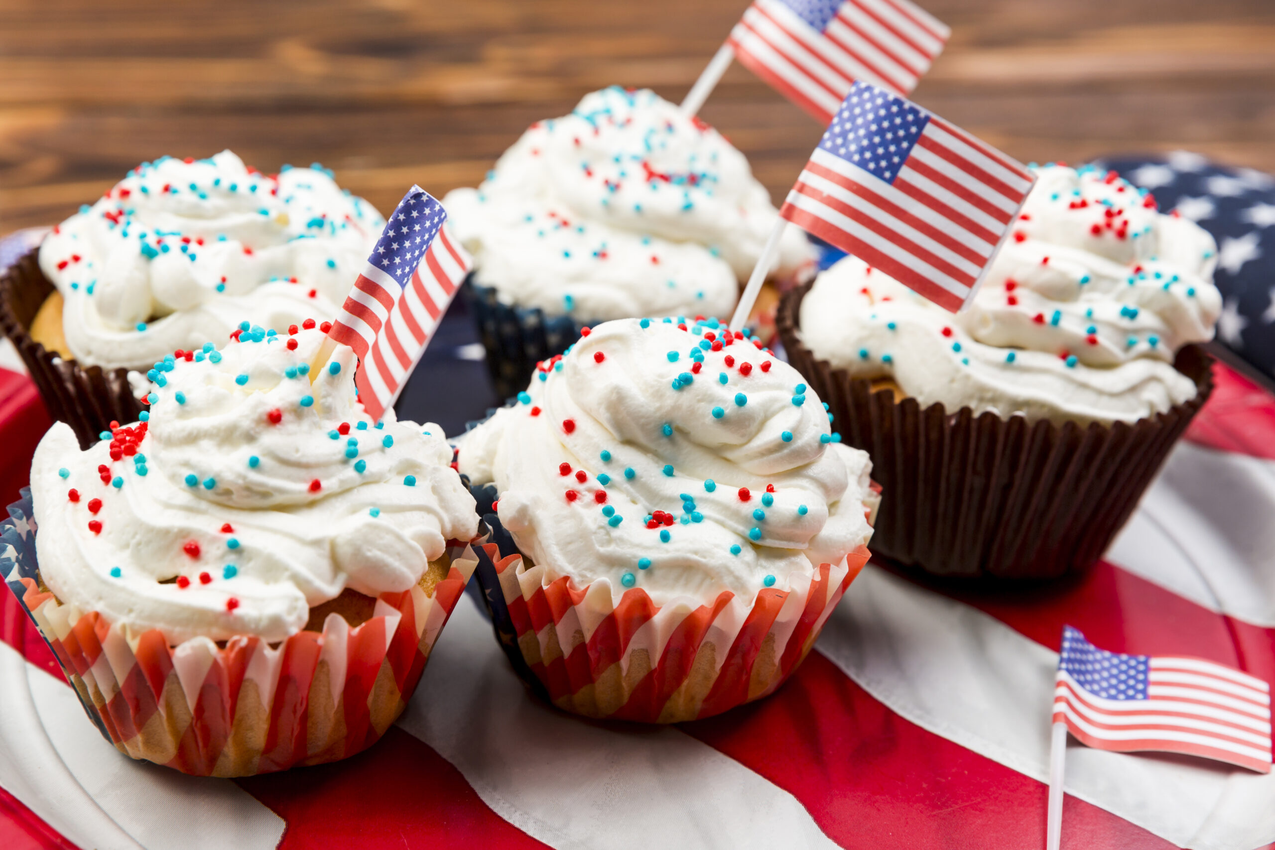 red white and blue patriotic cupcakes for party