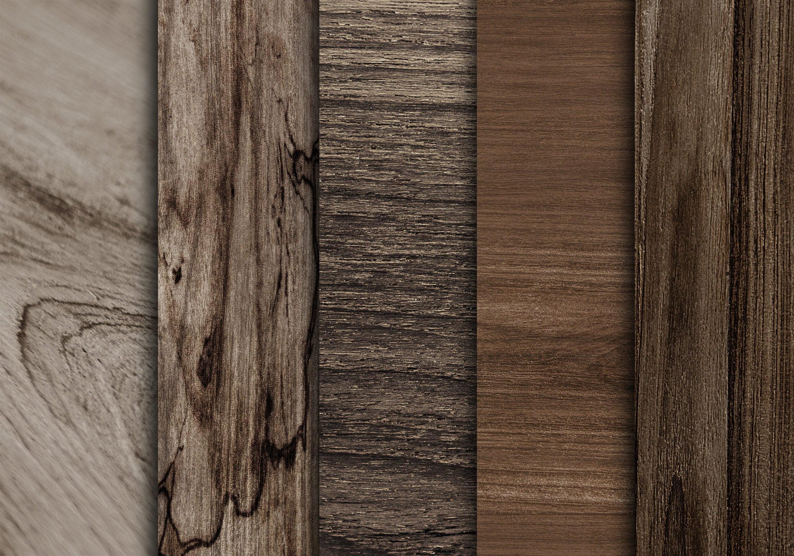 hardwood flooring samples of different dark wood patterns