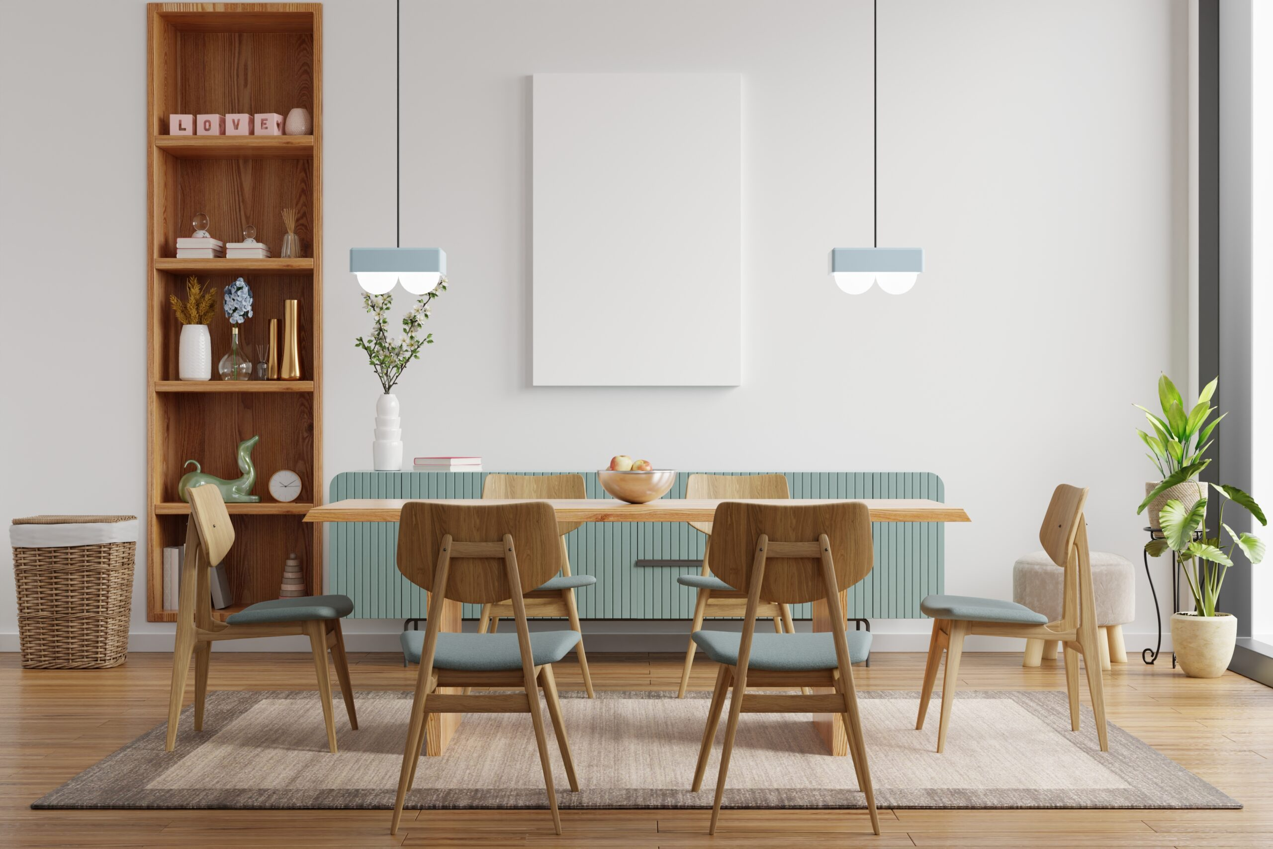 home staging of modern dining room to maximize the value of your home before selling it.